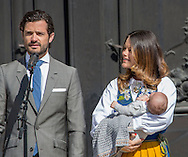 06-06-2016 <br /> <br /> Prince Carl Philip and Princess Sofia opened with their baby Prince Alexander the palace on the occasion of  National Day of Sweden.<br /> <br /> COPYRIGHT:ROYALPORTRAITS EUROPE/BERNARD RUEBSAMEN