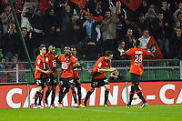 FOOTBALL - FRENCH CHAMPIONSHIP 2011/2012 - L1 - STADE RENNAIS v FC LORIENT  - 16/10/2011 - PHOTO PASCAL ALLEE / DPPI - JOY JONATHAN PITROIPA (REN) ON PENALTY. HE IS CONGRATULADED BY RENNES PLAYERS