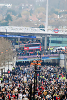Photo: Alan Crowhurst.<br />England U21 v Italy U21. International Friendly. 24/03/2007. Fans make their way from the underground stations to the stadium.