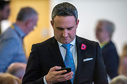 Pictured: Alex Cole-Hamilton checks how the conference is being reported on social media. <br /> The Scottish Liberal Democrats stalwarts gathered today in Dunfermline for their Autumn Conference<br /> <br /> Ger Harley | EEm 11 November 2017