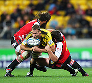Hurricanes lock James Broadhurst on the attack.Investec Super 15 rugby match - Hurricanes v Lions, at Westpac Stadium, Wellington, New Zealand on Saturday 4 June 2011. Photo: Justin Arthur / photosport.co.nz