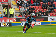 Joe Jacobson of Wycombe Wanderers clears the ball during the EFL Sky Bet League 1 match between Rotherham United and Wycombe Wanderers at the AESSEAL New York Stadium, Rotherham, England on 26 October 2019.