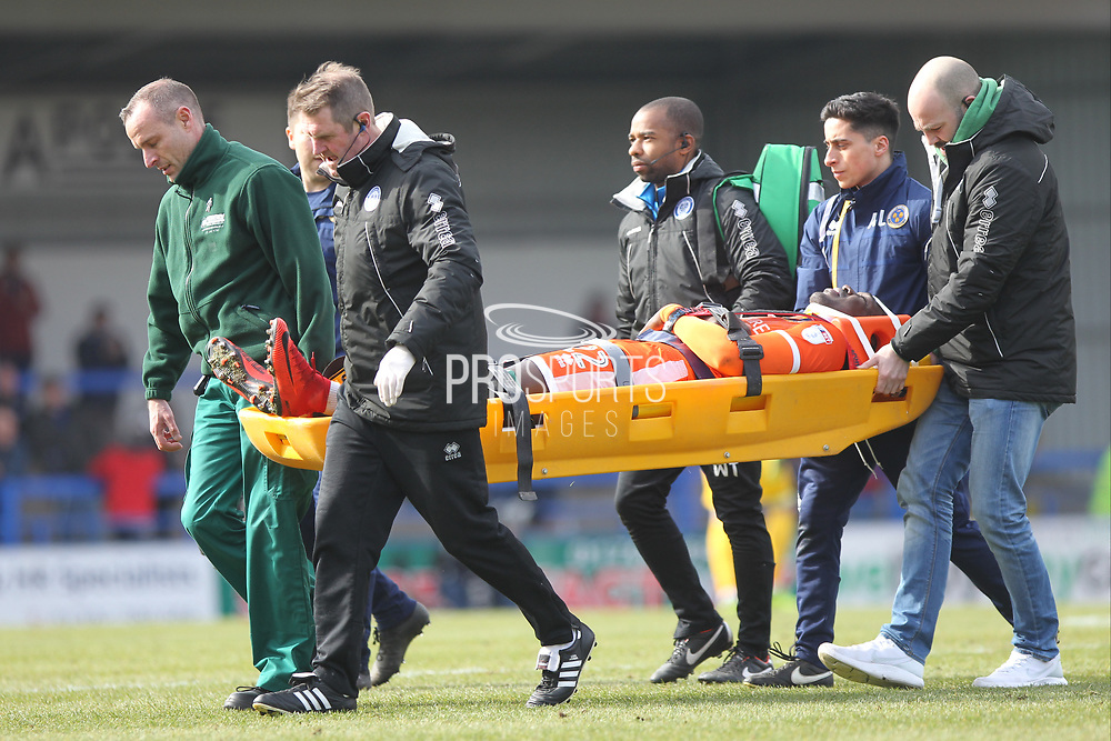 Aristotle Nsiala is stretchered off the pitch serious injury 12 minute delay  during the EFL Sky Bet League 1 match between Rochdale and Shrewsbury Town at Spotland, Rochdale, England on 30 March 2018. Picture by Daniel Youngs.