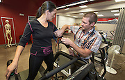 Dr. Lance Dalleck tests junior Alex Lambro on a treadmill in Western's HAPLab.