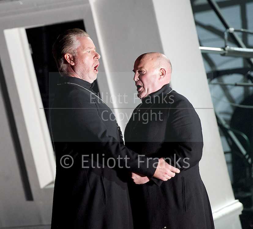 The Force of Destiny <br /> by Verdi <br /> English National Opera and the London Coliseum, London, Great Britain <br /> rehearsal<br /> 6th November 2015 <br /> <br /> <br /> <br /> James Creswell as Father Superior<br /> <br /> Andrew Shore as Melitone <br /> <br /> <br /> <br /> <br /> Photograph by Elliott Franks <br /> Image licensed to Elliott Franks Photography Services