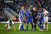 A yellow card for Leicester City defender Robert Huth (6) during the Premier League match between Leicester City and Burnley at the King Power Stadium, Leicester, England on 10 November 2018.