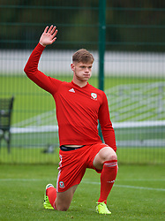 NEWPORT, WALES - Monday, October 14, 2019: Wales' Joe Low during the pre-match warm-up before an Under-19's International Friendly match between Wales and Austria at Dragon Park. (Pic by David Rawcliffe/Propaganda)
