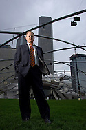 Ty Tabing, Executive Director of Chicago Loop Alliance, photographed at Millennium Park in Chicago.