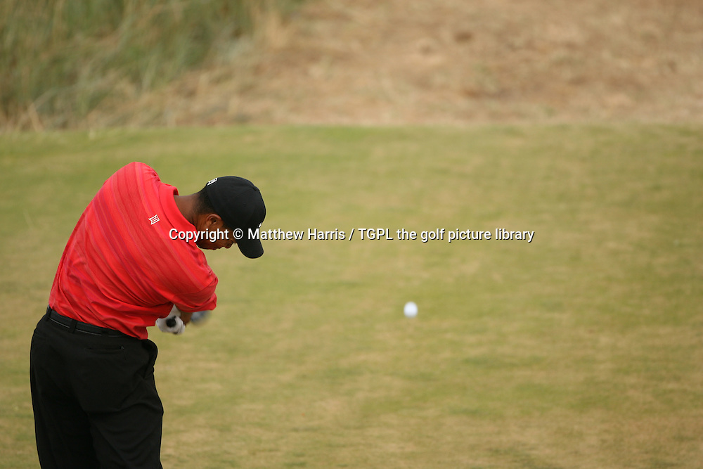 Tiger WOODS (USA) hits his only driver of the day off the 16th par 5 during fourth round The Open Championship 2006,Royal Liverpool,Hoylake,Wirral,England.