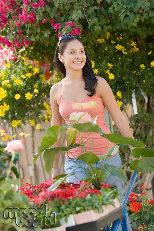 Gardener Pushing Wheelbarrow