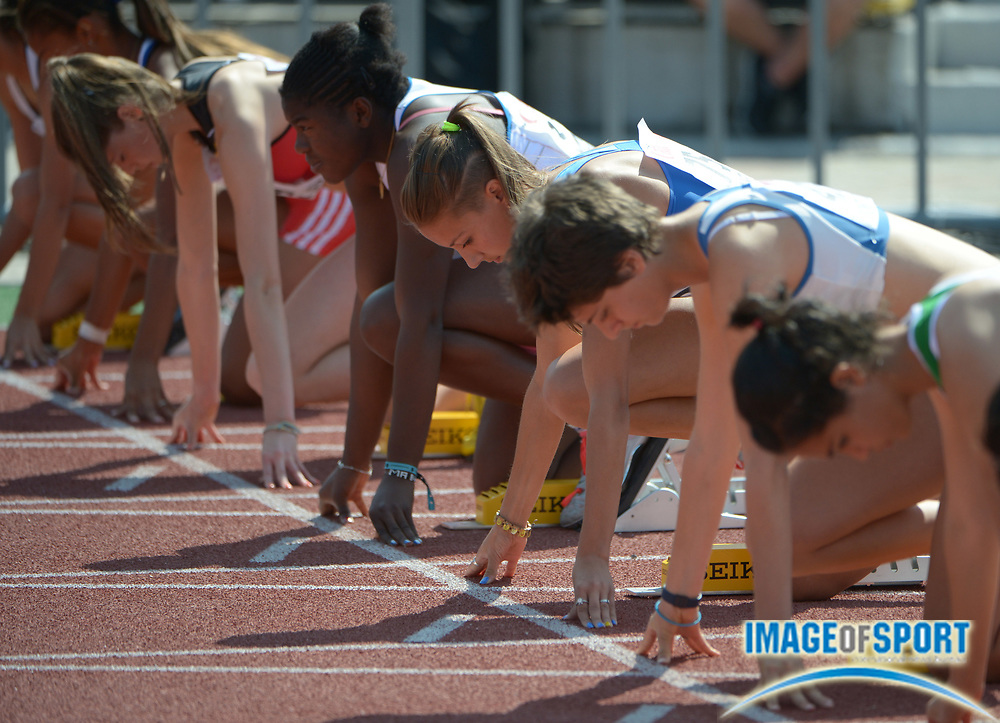 Jul 10, 2013; Donetsk, UKRAINE; General view of the start of a womens 100m hurdles heat in the 2013 IAAF World Youth Championships at Olimpiyskyi Stadium.