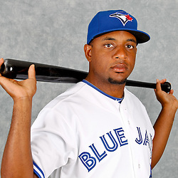 March 2, 2012; Dunedin, FL, USA; Toronto Blue Jays right fielder Ben Francisco (8) poses for a portrait during photo day at Florida Auto Exchange Stadium.  Mandatory Credit: Derick E. Hingle-US PRESSWIRE