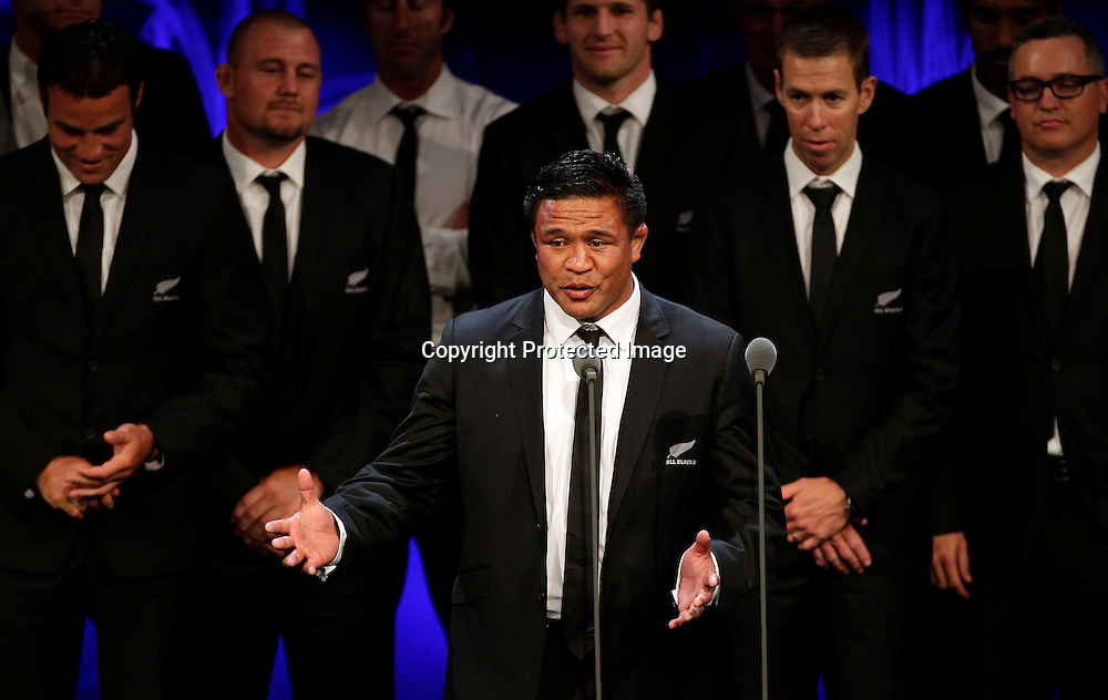 Keven Mealamu speaks after the All Blacks accept Team of the Year during the 2012 Westpac Halberg Awards at the Sky City Convention Centre, Auckland, New Zealand. Thursday 9 February 2012. Photo: Simon Watts/photosport.co.nz
