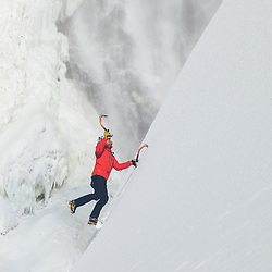 Jeff Mercier at the base of Chutes Montmorency in Quebec City, Quebec