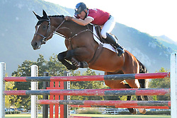 H:\EDITORIAL\Photos\10 October 2009\JH 10-1-09 GOOD AS GOLDó2008 Olympic Show Jumping Team Gold Medal winner Will Simpson, a Thousand Oaks resident,  jumps horse Black Cherry over a six foot triple vertical fence during a jumping demonstration during the Ride On 15 Year Anniversary Celebration at El Campeon Farms in Thousand Oaks Hidden Valley on Saturday, September 26.