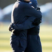 St Johnstone Training….14.12.18    McDiarmid Park<br />Murray Davidson gives Danny Swanson a hug during training this morning ahead of tomorrows game against Motherwell<br />Picture by Graeme Hart.<br />Copyright Perthshire Picture Agency<br />Tel: 01738 623350  Mobile: 07990 594431