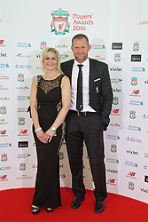 LIVERPOOL, ENGLAND - Thursday, May 12, 2016: Liverpool's goalkeeping coach John Achterberg and his wife arrive on the red carpet for the Liverpool FC Players' Awards Dinner 2016 at the Liverpool Arena. (Pic by David Rawcliffe/Propaganda)