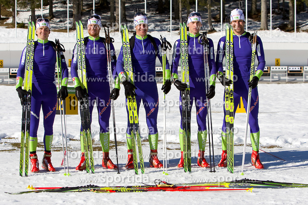 Peter Dokl, Klemen Bauer, Janez Maric, Jakov Fak and Vasja Rupnik at practice session during Media day of Slovenian biathlon team on November 12, 2010 at Rudno polje, Pokljuka, Slovenia. (Photo By Vid Ponikvar / Sportida.com)