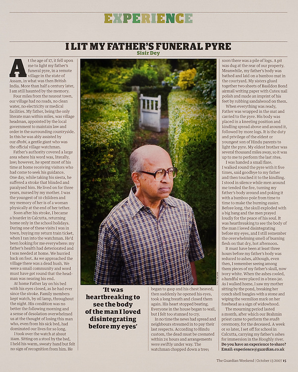 Portrait of Sisir Dey, commissioned by THE GUARDIAN WEEKEND MAGAZINE.