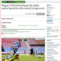 Wigan Athletic's Nick Powell scores against Ipswich Towen<br /> Picture by Paul Currie/Action Images