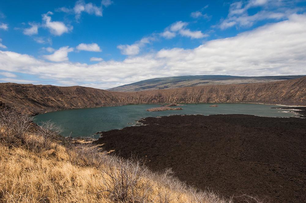 Darwin Volcano Lake and Lava Flow, Isabela Island<br /> GALAPAGOS ISLANDS<br /> ECUADOR.  South America