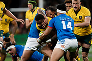 SYDNEY, AUSTRALIA - SEPTEMBER 07: Marika Koroibete of the Wallabies tries to break a tackle during the international rugby test match between the Australian Wallabies and Manu Samoa on September 07, 2019 at Bankwest Stadium in Sydney, Australia. (Photo by Speed Media/Icon Sportswire)