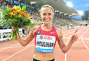 Shelby Houlihan (USA) poses after winning the women's 1,500m in 3:57.34 during the 2018 Athletissima in an IAAF Diamond League meeting at Stade Olympique de la Pontaise in Lausanne, Switzerland on Thursday, July 5, 2018. (Jiro Mochizuki/Image of Sport)