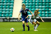 Hayley Lauder (#7) of Scotland steps in to intercept a pass during the Women's Euro Qualifiers match between Scotland Women and Cyprus Women at Easter Road, Edinburgh, Scotland on 30 August 2019.
