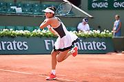 Garbine Muguruza (ESP) during the preliminary rounds of the Roland Garros Tennis Open 2017 at  at Roland Garros Stadium, Paris, France on 2 June 2017. Photo by Jon Bromley.
