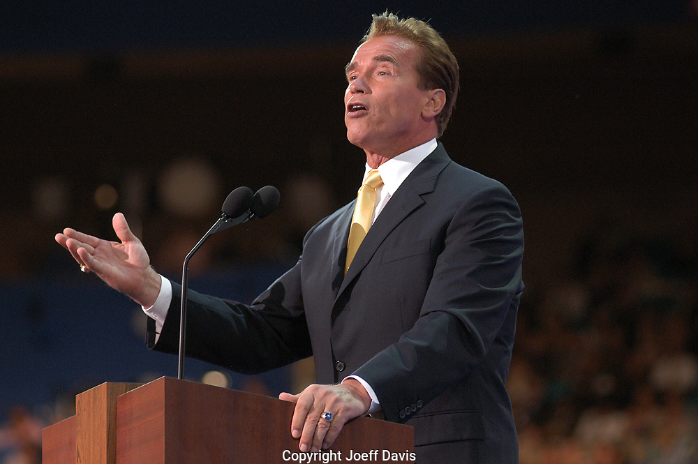 NEW YORK, NY-Aug 31, 2004: California Gov. Arnold Schwarzenegger speaks at the 2004 Republican National Convention.
