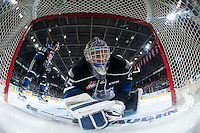 KELOWNA, CANADA - APRIL 17: Coleman Vollrath #35 of Victoria Royals checks the net for the puck against the Kelowna Rockets on April 17, 2016 at Prospera Place in Kelowna, British Columbia, Canada.  (Photo by Marissa Baecker/Shoot the Breeze)  *** Local Caption *** Coleman Vollrath;