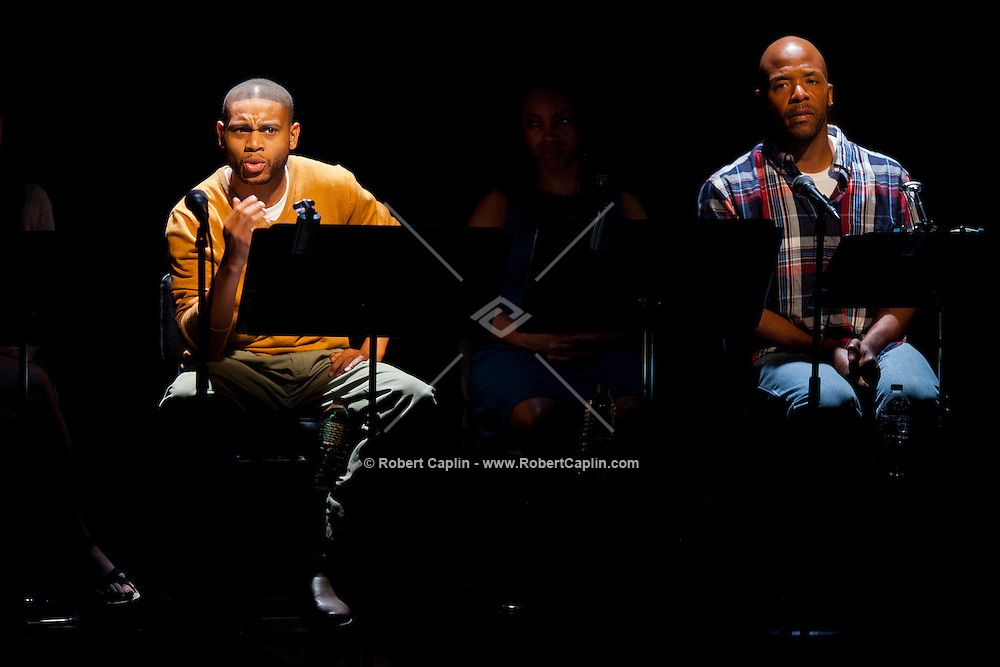 "L-R  JD Williams and Curtis McClarin perform in ""The Exonerated"", a critically acclaimed play about wrongfully convicted survivors of death row, which had star-filled casts for its Off Broadway run from 2002 to 2004, returns for a seven-week run starting Sept. 15, 2012 at the Culture Project in New York. The production will once again feature a rotating cast of stars..Photo © Robert Caplin"