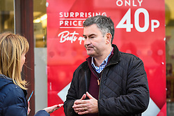 © Licensed to London News Pictures. 18/11/2019. RICKMANSWORTH, UK.  Former Justice Secretary David Gauke campaigns in Rickmansworth as an independent candidate to be the MP of South West Hertfordshire, the seat he has held since 2005.  Offering support to him on the general election campaign trail is former Home Secretary Amber Rudd (not pictured), who has announced she will not be standing as an MP.  Photo credit: Stephen Chung/LNP