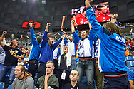 Poland, Krakow - 2017 September 03: Special Olympics Athletes on the tribune supports while final match between Germany and Russia during Lotto Eurovolleyball Poland 2017 - European Championships in volleyball at Tauron Arena on September 03, 2017 in Krakow, Poland.<br /> <br /> Mandatory credit:<br /> Photo by © Adam Nurkiewicz<br /> <br /> Adam Nurkiewicz declares that he has no rights to the image of people at the photographs of his authorship.<br /> <br /> Picture also available in RAW (NEF) or TIFF format on special request.<br /> <br /> Any editorial, commercial or promotional use requires written permission from the author of image.