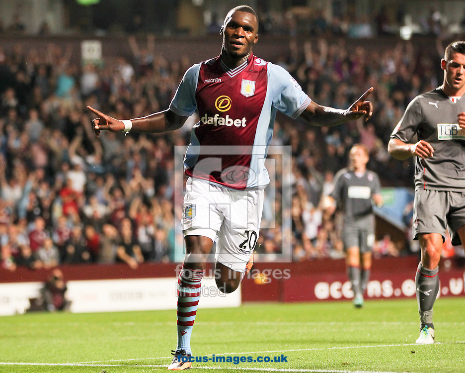 Picture by Tom Smith/Focus Images Ltd 07545141164<br /> 28/08/2013<br /> Christian Benteke of Aston Villa celebrates making it 2-0 during the Capital One Cup match at Villa Park, Birmingham.