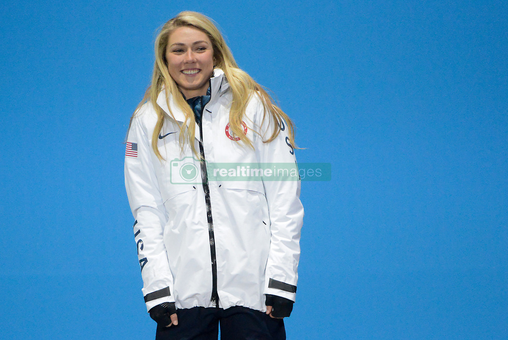 February 22, 2018 - Pyeongchang, South Korea - MIKAELA SHIFFRIN of the United States celebrates getting the silver medal in the Ladies' Combined Alpine Slalom skiing event in the PyeongChang Olympic Games. (Credit Image: © Christopher Levy via ZUMA Wire)