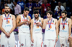 +s13+, Willy Hernangomez of Spain, Joan Sastre of Spain, Guillem Vives of Spain, Fernando San Emeterio of Spain at medal ceremony after placed third during basketball match between National Teams  Spain and Russia at Day 18 in 3rd place match of the FIBA EuroBasket 2017 at Sinan Erdem Dome in Istanbul, Turkey on September 17, 2017. Photo by Vid Ponikvar / Sportida