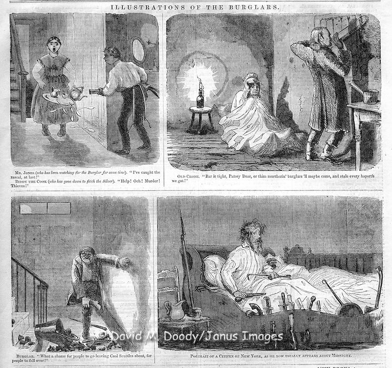 Cartoons of different types of burglars, Harper's Weekly, 1857