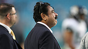 Aug 22, 2019; Miami Gardens, FL USA;  Jacksonville Jaguars owner Shahid Khan was on the field with his team during the pregame warmups during an NFL preseason game at Hard Rock Stadium. The Dolphins beat the Jaguars 22-7. (Kim Hukari/Image of Sport)
