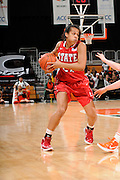 January 5, 2012: Erica Donovan #21 of North Carolina State in action during the NCAA basketball game between the Miami Hurricanes and the North Carolina State Wolfpack at the BankUnited Center in Coral Gables, FL. The Hurricanes defeated the Wolfpack 78-68.