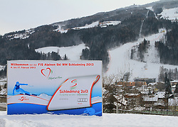 07.12.2012, Schladming, AUT, FIS Weltmeisterschaften Ski Alpin, Schladming 2013, Vorberichte, im Bild eine Werbetafel und die Planai am 07.12.2012 // billboard and the Planai on 2012/12/07, preview to the FIS Alpine World Ski Championships 2013 at Schladming, Austria on 2012/12/07. EXPA Pictures © 2012, PhotoCredit: EXPA/ Martin Huber