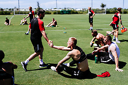 Daniel Bentley of Bristol City and Bristol City manager Lee Johnson during an intense morning session - Rogan/JMP - 16/07/2019 - IMG Academy, Bradenton - Florida, USA - Bristol City Pre-Season Tour Day 6.