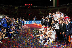European Champions - players of France celebrate at trophy ceremony after they won at volleyball match between National teams of Slovenia and France at Final match of 2015 CEV Volleyball European Championship - Men, on October 18, 2015 in Arena Armeec, Sofia, Bulgaria. Photo by Vid Ponikvar / Sportida
