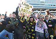 October 31, 2009: Iowa fans cheer after the Iowa Hawkeyes' 42-24 win over the Indiana Hoosiers at Kinnick Stadium in Iowa City, Iowa on October 31, 2009. Iowa is now 9-0 on the season.