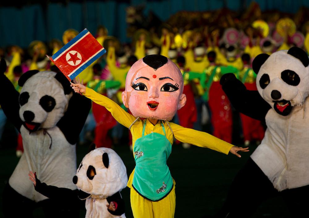Symbolization of the friendship between North Korea and China  during the Arirang mass games at May Day stadium in Pyongyang, North Korea.
