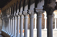 A row of columns in a building on Isoa San Michel, Venice, Italy.