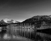 Tromsø, Norway bridge and reflection. Image taken with a Leica X2 camera (ISO 100, 24 mm, f/5.6, 1/100 sec). Raw image processed with Capture One Pro (including conversion to B&W).