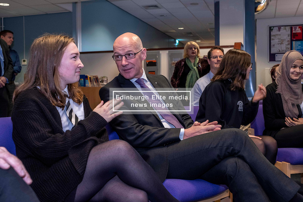 Pictured: Student Kirsty Wood (15) outlined her part in the development of the project to Mr Swinney<br /><br />The Deputy First Minister and Education Secretary visited the Royal High School in Edinburgh today and met students and staff to learn about a school library project aimed at tackling mental health issues.<br /><br />Ger Harley   EEm 10 October 2019
