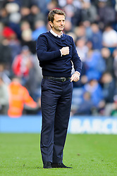 Manager Tim Sherwood (ENG) of Tottenham Hotspur beats his heart for the travelling support after his side rescue a 3-3 draw - Photo mandatory by-line: Rogan Thomson/JMP - 07966 386802 - 12/04/2014 - SPORT - FOOTBALL - The Hawthorns Stadium - West Bromwich Albion v Tottenham Hotspur - Barclays Premier League.