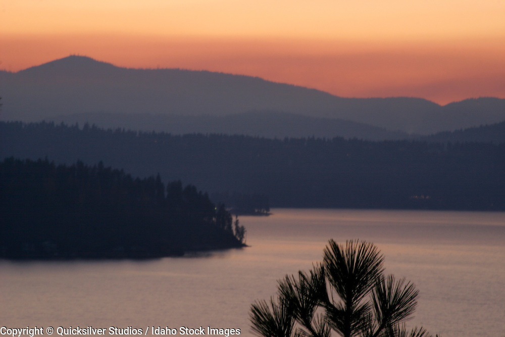 Idaho, Coeur dAlene, Lake and Pine, Sunset